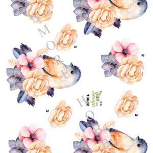 Dyr / 3D ark med fugl i blomst / Dan-Design
