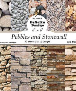 """Karton 6"""" x 6"""" / sten og murstensvæg / Felicita design"""