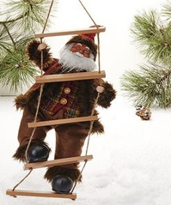 Julemand, m/brunt tøj, på rebstige-38 cm