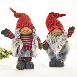 Julemand/kone, stående, stof/poly 55 cm