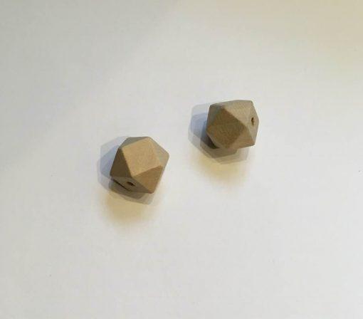 Træperler / Fazet / 15 mm / 2 stk