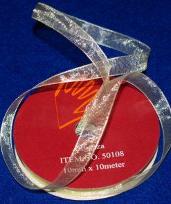 Organza-bånd / 10 mm x 10 m / Lys gul
