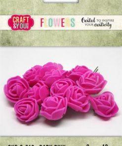 Roser / Mørk pink / Craft & you, 12 stk.