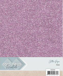 Glitter karton A4 / Lyserød / 230 g, 6 ark
