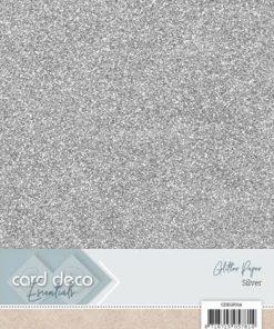 Glitter karton A4 / Sølv / 230 g