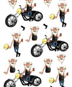 Herre / Sjov ældre mand med motorcykel / Hm design