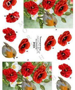 Blomster / Blomst med fugl / Dan-Quick