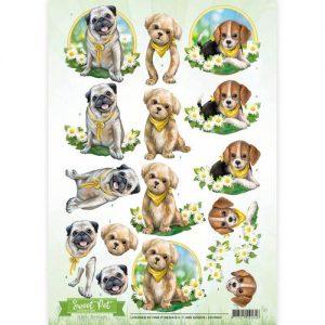 Dyr / Hunde med gule tørklæder / Amy Design