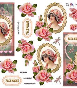 Blandet / Damemotiv med roser / Hm Design