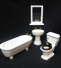 Badeværelse, træ, hvid i 4 dele / dukkehus-møbler