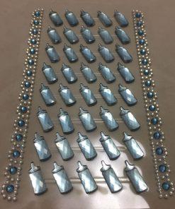40 selvklæbende sutteflasker i lyseblå
