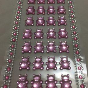 28 selvklæbende bamser i lyserød