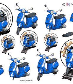 Herre / Blå scooter / Hm design