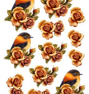 Dyr / Fugl ved roser / Hm Design