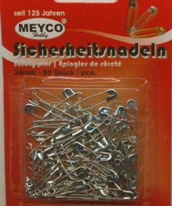 Sikkerhedsnåle, sølv / 24 mm & 80 stk