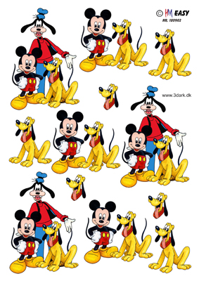 Børn / Mickey,Fedtmule & Pluto / Hm Design