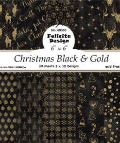 Karton 15 x 15 cm / Guld & sort jul / Felicita Design