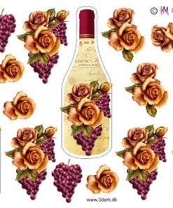 Diverse / Vinflaske med rose / HM Design
