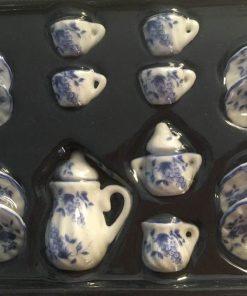 Porcelæn / Sæt i blå 1:12 / Dukkehus