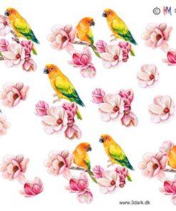 Papegøjer og lyserøde blomster / Hm Design