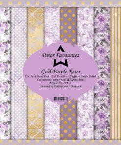 Karton 15x15 cm / Gold purple rose