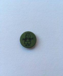 Knap 2 hul / 15 mm / Grøn dreng