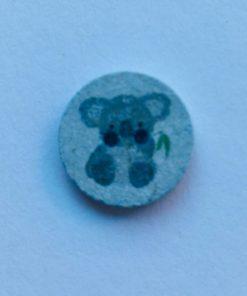Knap 2 hul / 18 mm / Koala blå