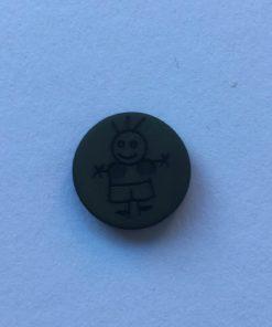 Knap 2 hul / 15 mm / Mørkegrøn dreng