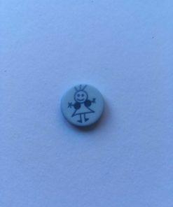 Knap 2 hul / 15 mm / lyseblå pige