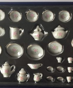 Porcelænssæt, 36 dele, blomster / Dukkehus 1:12