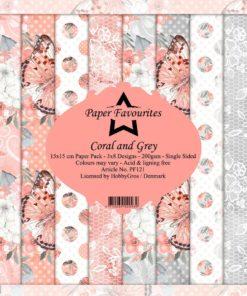 Karton / Coral & grey / 15 x 15 cm