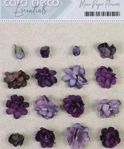 Blomster mini, papir, lilla / 20 stk