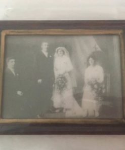 Billede sort/hvid bryllup 6,5x4,5 cm / Dukkehus