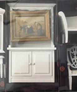 Stue i syv dele, hvid / Dukkehus