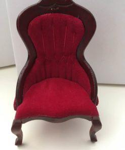 Lænestol, rød velour / Dukkehus