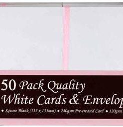 Kort og kuverter / 13,5 x 13,5 cm, hvid