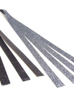 Stjernestrimler med glitter sort/sølv, 15x420 mm