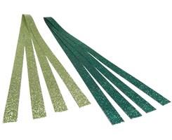 Stjernestrimler med glitter grøn/m.grøn, 15x420 mm