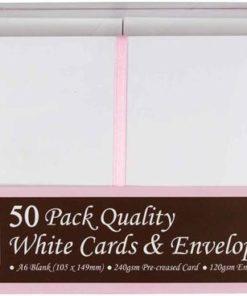 Kort & kuverter A6, hvid / 50 sæt