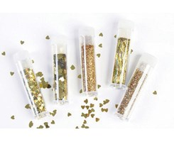 Glitter,5 ass. rør / 1,8 g i guld