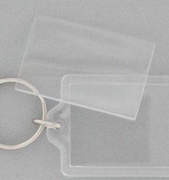 Nøglering, rektangel, klar plast 40x62 mm