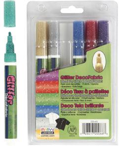Tekstiltusch, Glitter, 6 stk