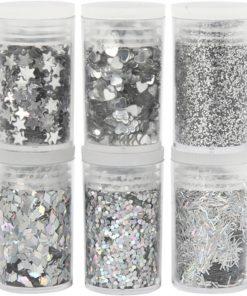 Glitter, Pailletter / Sequins, sølv