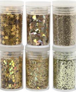 Glitter, Pailletter / Sequins, guld