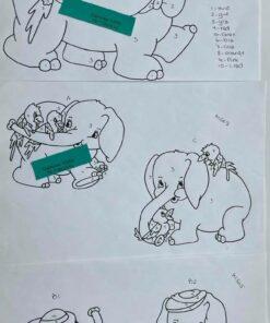 Uro / Elefant m. papegøje / Lap på lap