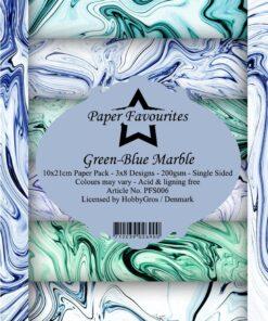 Karton slimcard / Green-blue marble / Paper favourite