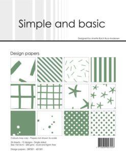 Design papir 15x15 / Eucalyptus / Simple and Basic