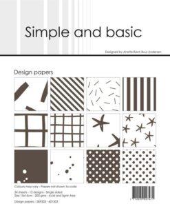 Design papir 15x15 / Warm grey / Simple and Basic