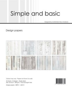 Design papir 15x15 / White wood / Simple and Basic