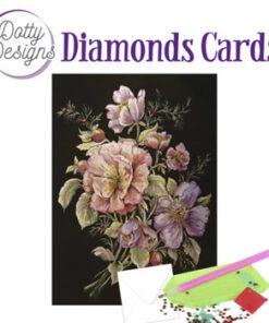 Diamond card, blomst / 10x15 cm